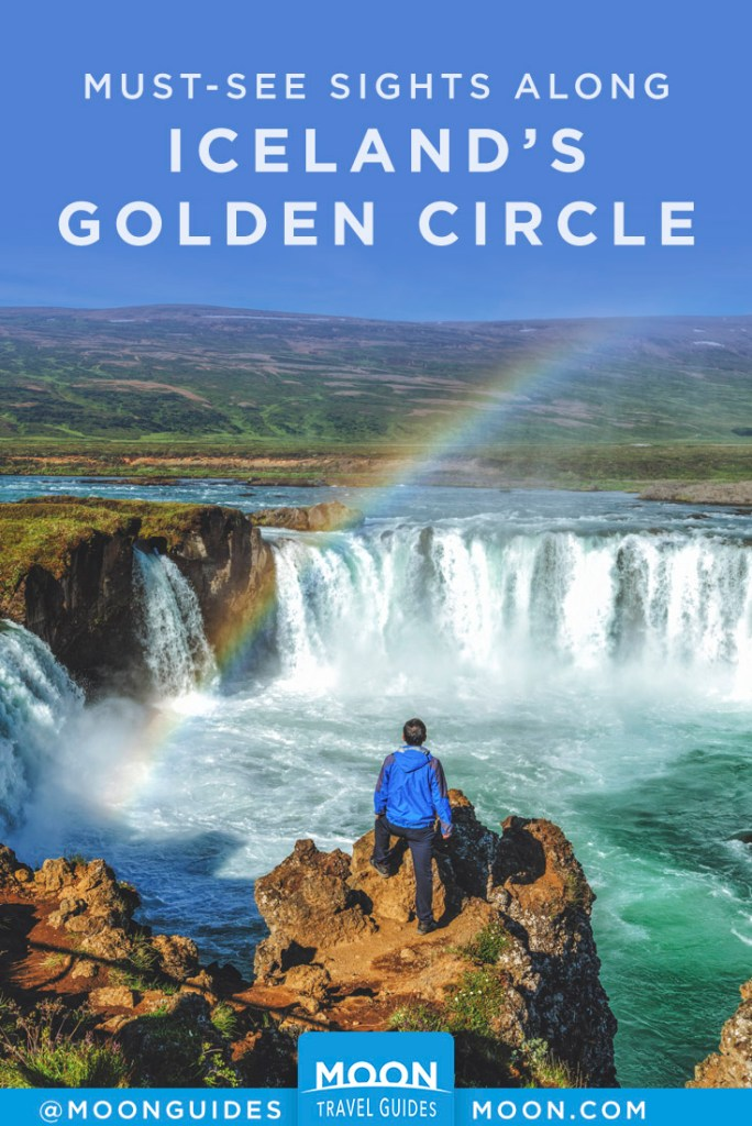 Man looking at waterfall with rainbow overhead. Pinterest graphic.