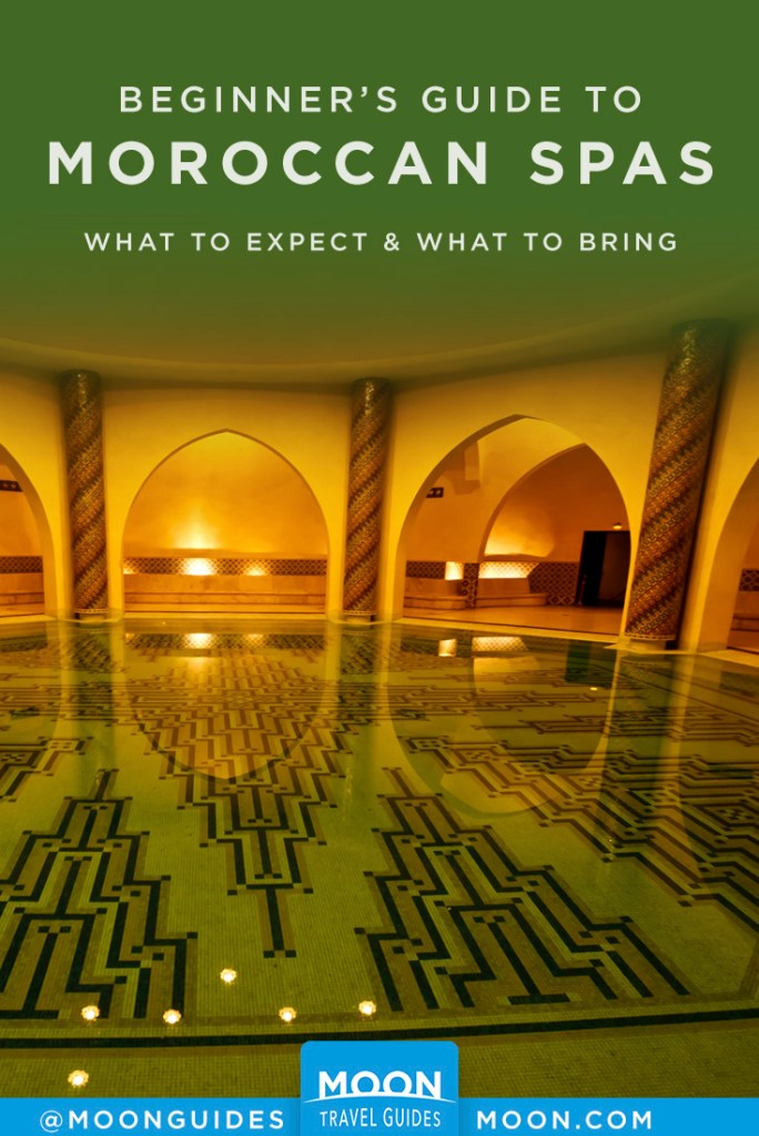 Large empty pool inside a Moroccan spa. Pinterest graphic.