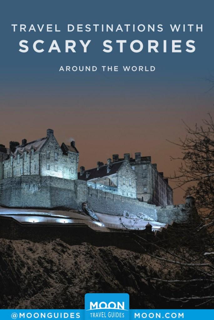 Edinburgh Castle, Scotland, at night. Pinterest Graphic.