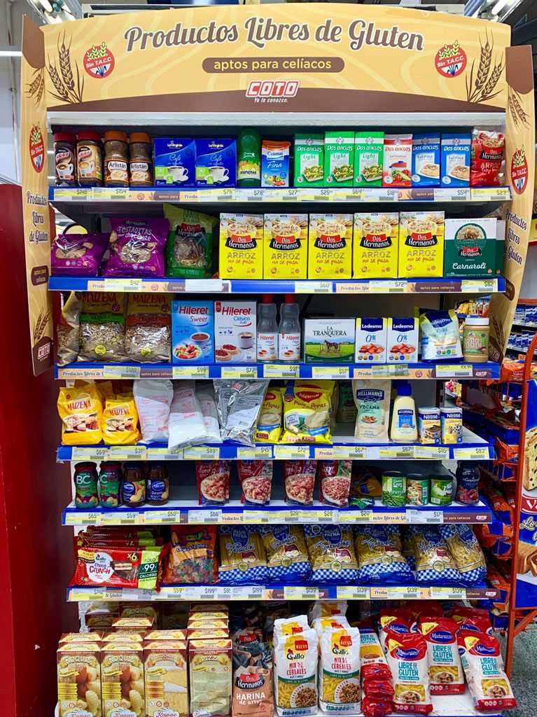 supermarket display of gluten-free food products