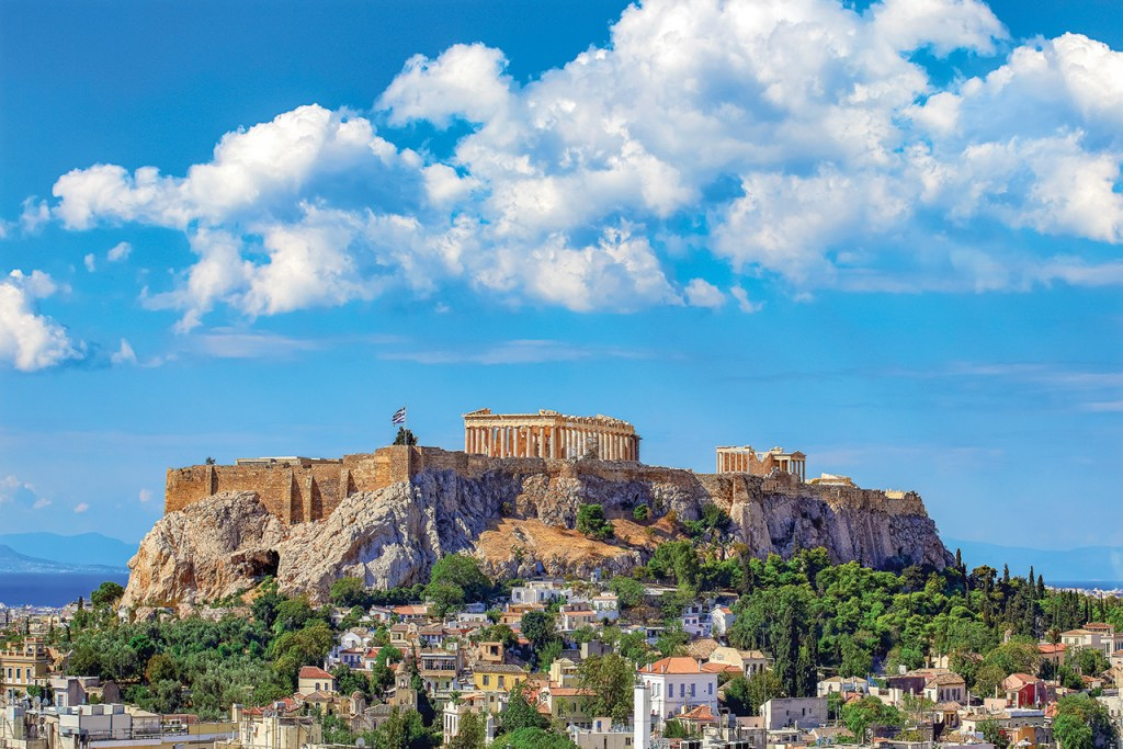 View of the Acropolis with blue skies