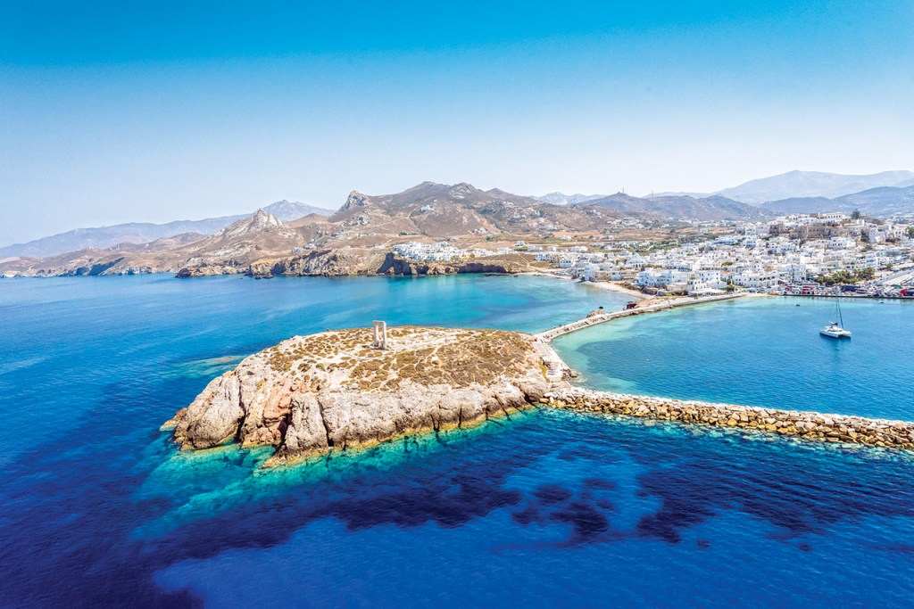 Ariel View of Naxos Town with clear blue water