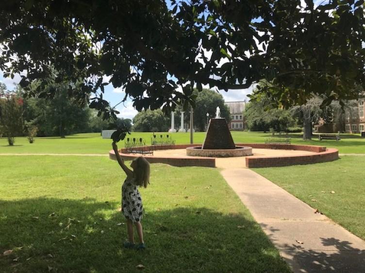 girl at fountain