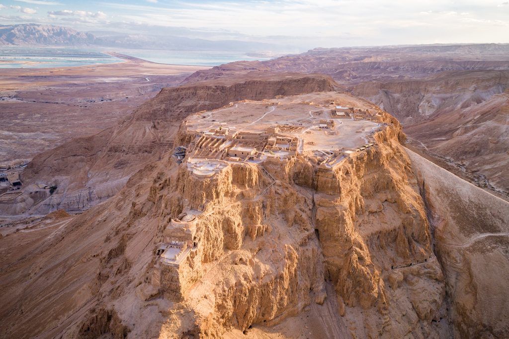Masada National Park in Israel. Photo taken from above showing the view.