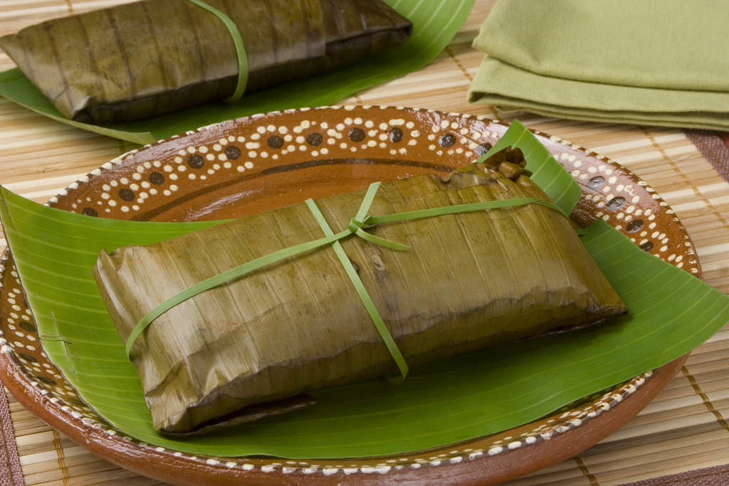 photo of a wrapped oaxacan tamal on a plate