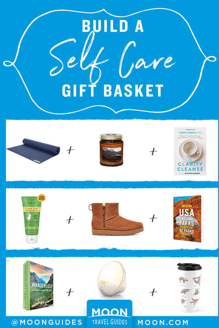 pinterest graphic that reads: self care gift basket