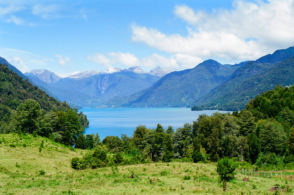 View of Lago Todos Los Santos in Parque Nacional Vicente Pérez Rosales with crystal blue waters, and vibrant green trees.