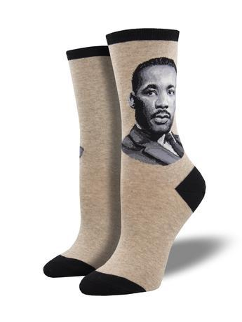 Socks that feature an image of Martin Luther King Jr.