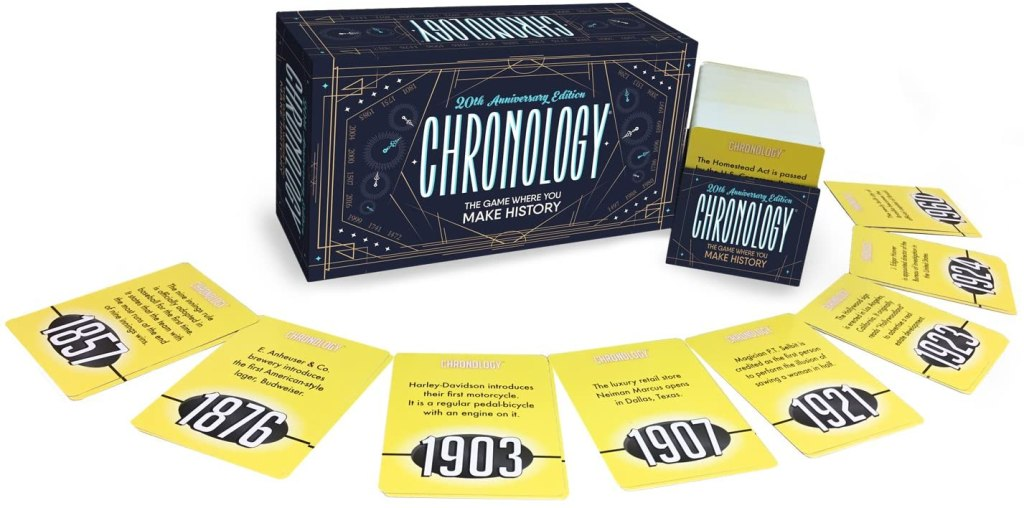 photo of chronology card game with cards