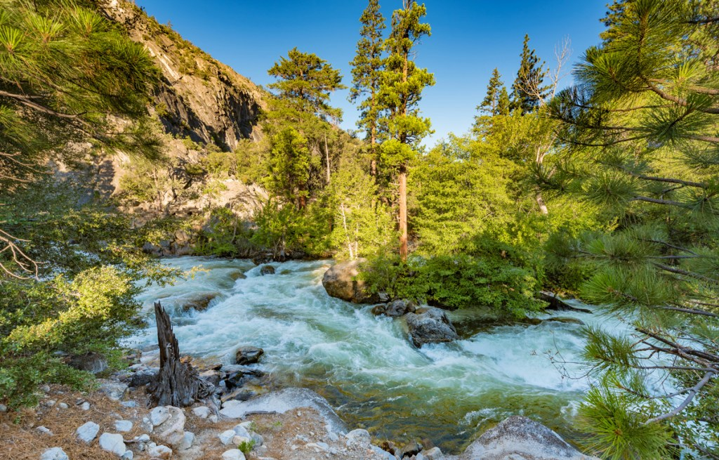 roaring rapids in Kings Canyon National Park
