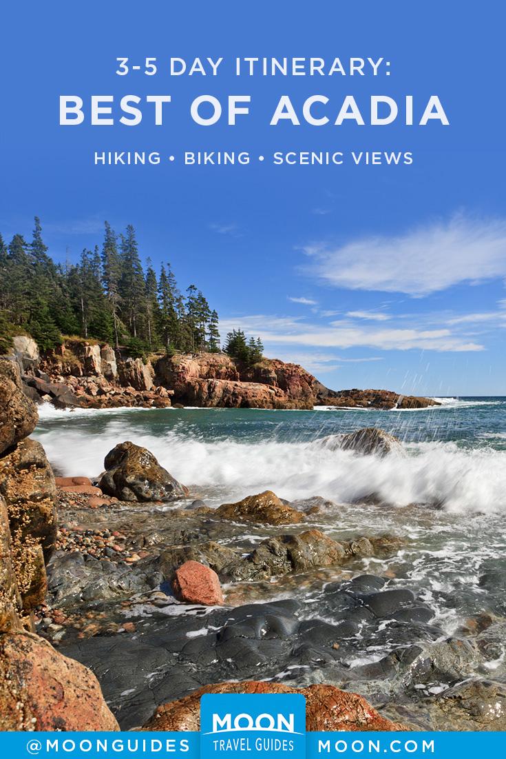 waves crashing on the coast of acadia national park