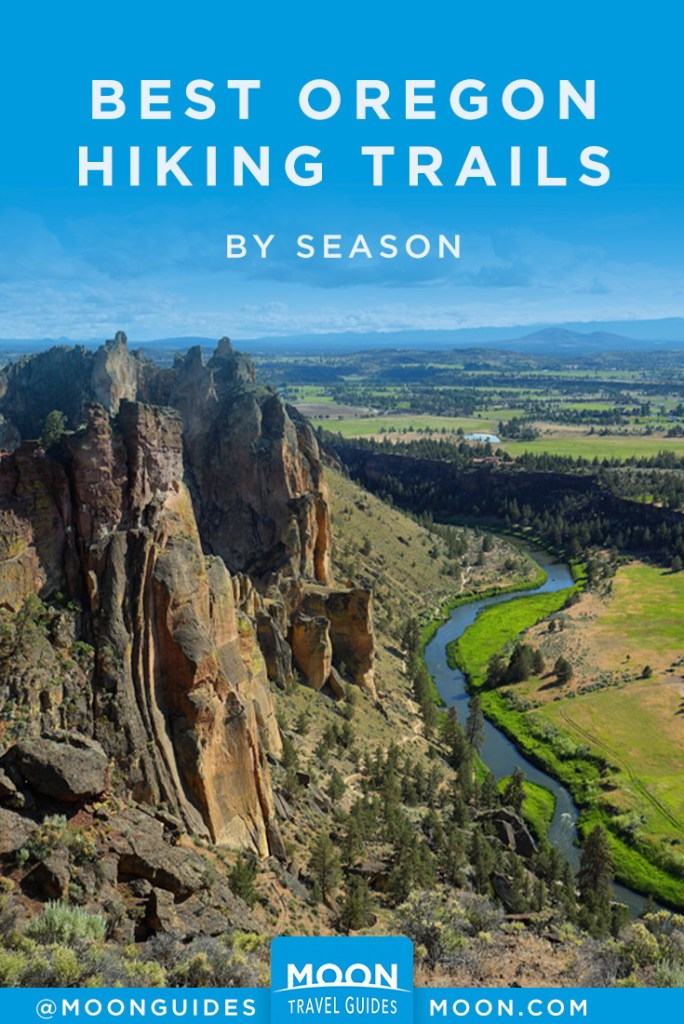 pin graphic that reads: Best oregon hiking trails by season.
