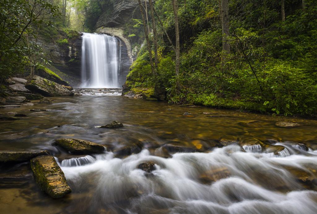 Looking Glass Falls North Carolina Blue Ridge Parkway Waterfalls near Brevard in Western NC Appalachian Mountains.