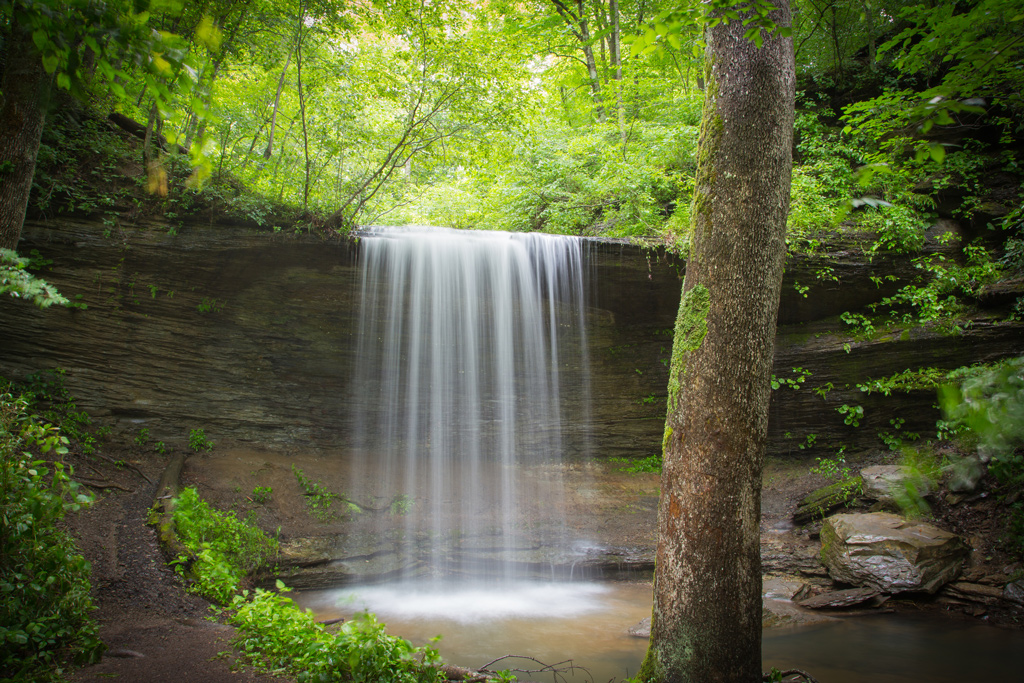 Fall Hollow Waterfall stop on around mile 394 of the Natchez Trace Parkway National Park.