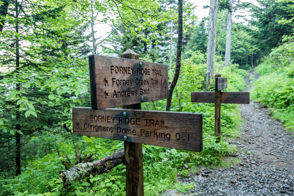 Trail sign at Forney Ridge