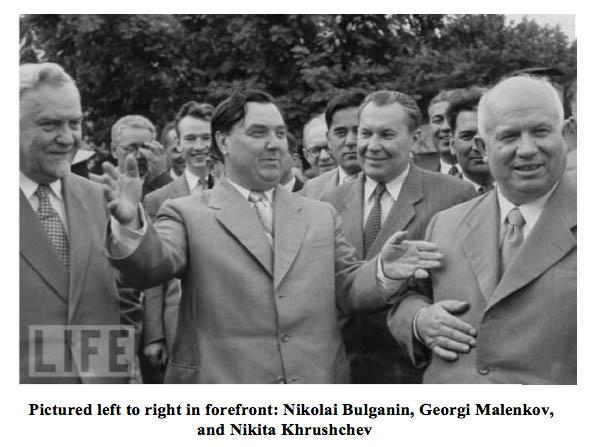 Bulganin, Malenlkov, Khrushchev