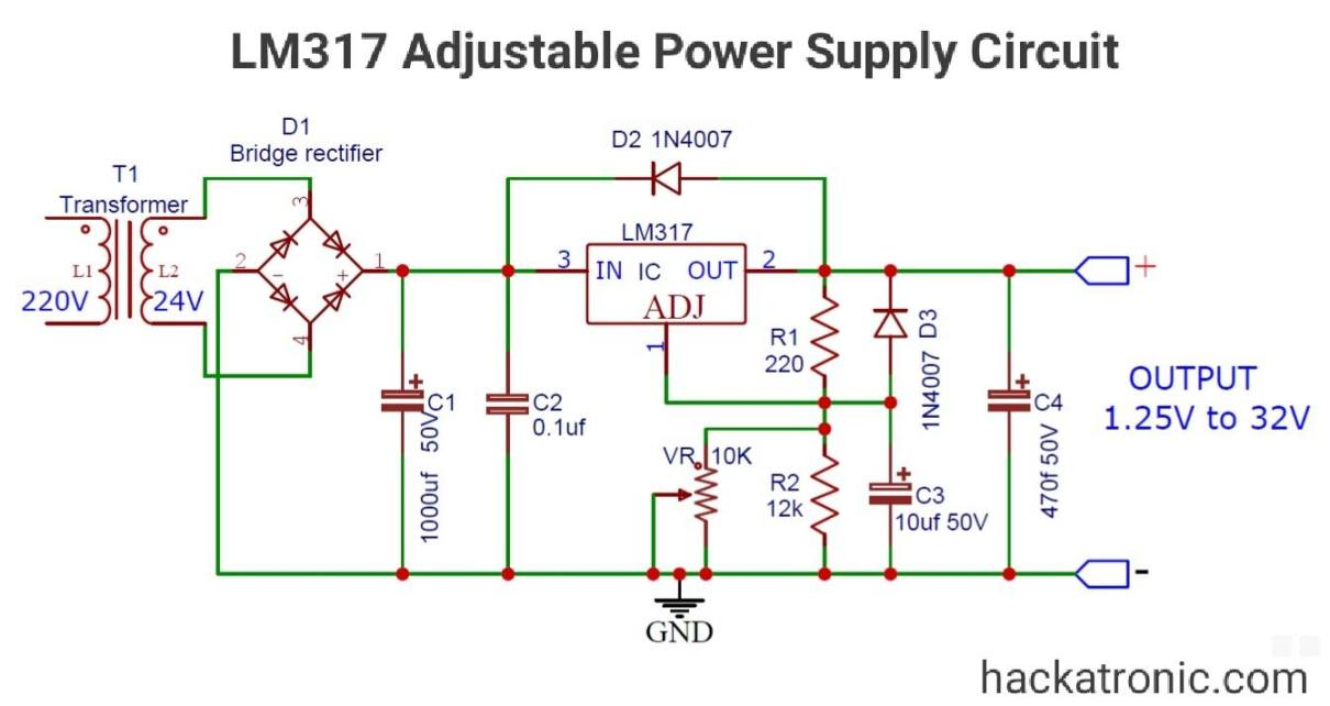 LM317 adjustable power supply circuit
