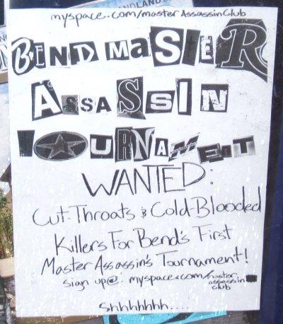 Flier for Bend Master Assassin Tournament