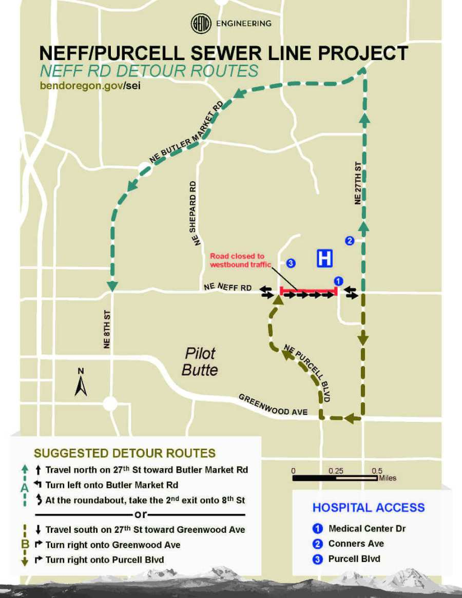 Neff Road sewer line closure map
