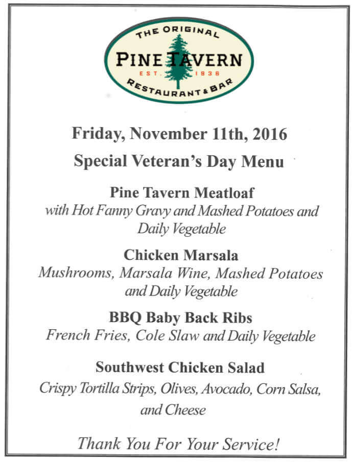 Pine Tavern Veterans Day menu