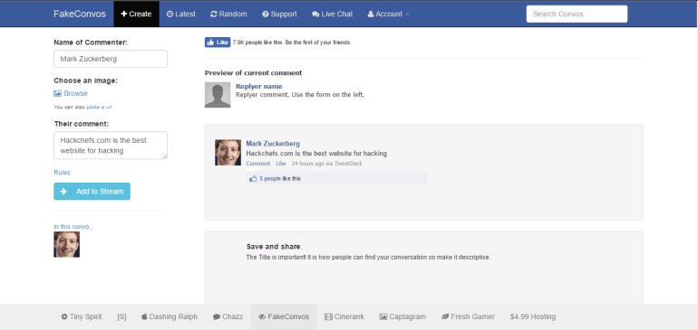 fake facebook conversation