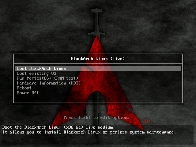 Black Arch Linux Boot
