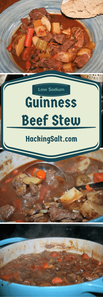 low Sodium Guinness Beef Stew will warm you to your core and tastes great! #lowsodium #hearthealthy
