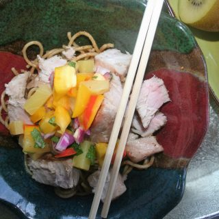 Grilled Ahi Tuna Sesame Noodle Bowls with Kiwi-Pineapple Salsa