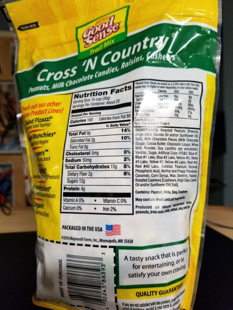 Cross n Country Low Sodium Trail Mix Label