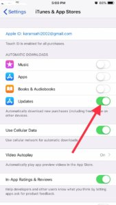 Disable automatic app updates on iphone