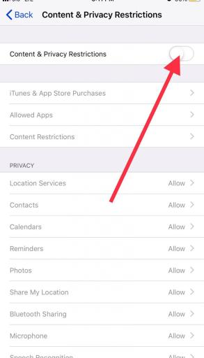 Enable restrictions on your iPhone 11