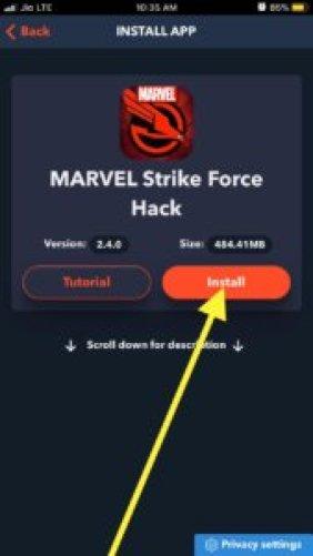 install marvel strike force hack
