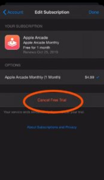 Cancel Free Trial of Apple Arcade