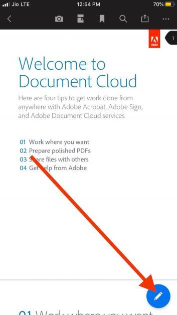 Edit PDF File in Adobe acrobat iPhone