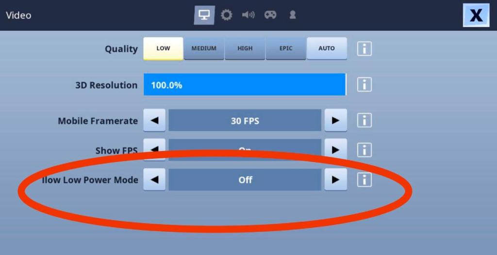 Enable low power mode in fortnite mobile