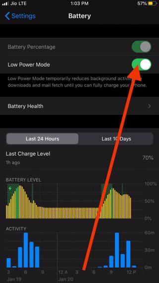 Low power mode saves battery while playing fortnite