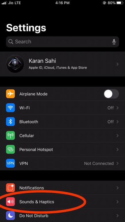 Sounds & Haptics iOS 13