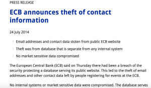 Has The European Central Bank Really Been Hacked? Yes! One Year Ago!