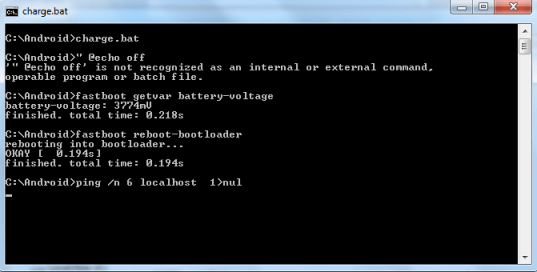 HTC One X charging in fastboot