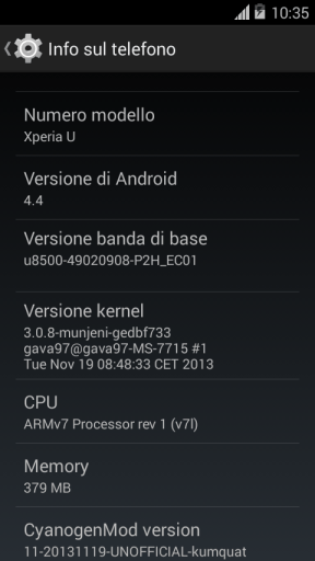 CM 11 Android 4.4 for Xperia U