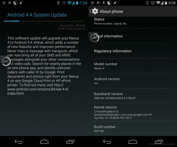 Nexus 4 Android 4.4 stock