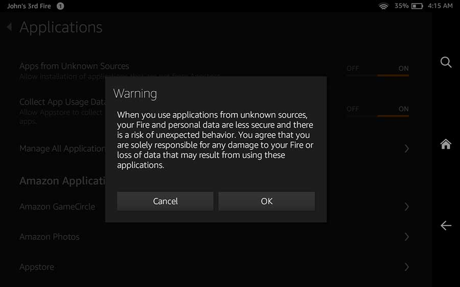Hack amazon fire tablet warning