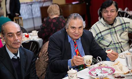 Dapper: Gentlemen enjoy a spot of tea at Posh Club. Photograph: Eleonore de Bonneval