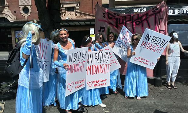 Cinderella protesters at Hackney Town Hall