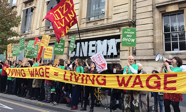 Living wage protesters outside Hackney Picturehouse. Photograph: Hackney Unison