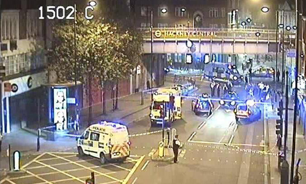 Mare Street: the scene of the accident on Saturday morning. CCTV image: Metropolitan Police