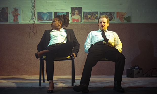 A scene from Removal Men at the Yard Theatre. Photograph: Caleb Wissun Bhide