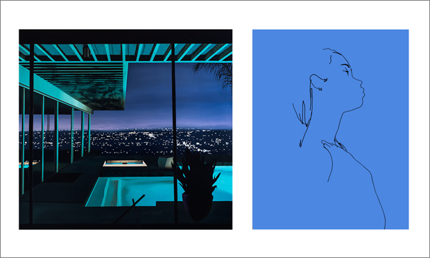 (L) Night Pool II by Laurence Jones. Acrylic and ink on linen. 136 x 145cm. £4,500. RHG NYC. (R) B - Looking Up by Ed Hodgkinson. Pigment print on Hahnemuhle Photorag. 76 x 59cm. TAG Fine Arts