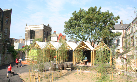 The wasteland occupied last year by the Dalston Mill and wheatfield is now being used for the Dalston Garden and barn
